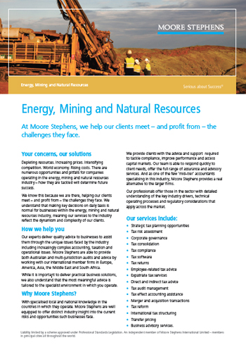Energy Mining and Natural Resources